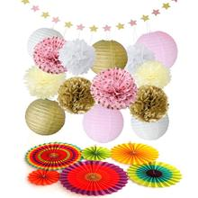 15pcs Paper Pom Poms Flowers Paper Lanterns and Star Paper Garland + 6pcs Paper Flower Fan for Wedding birthday Party Decoration