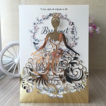 12pcs/lot laser cut Beautiful dress girl design birthday party decoration wedding invitation cards pretty greeting card