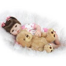 52cm Silicone New Reborn Baby Dolls Realistic Girl Fake Babies Kids bear doll Toys by NPK Collection bebe bonecas