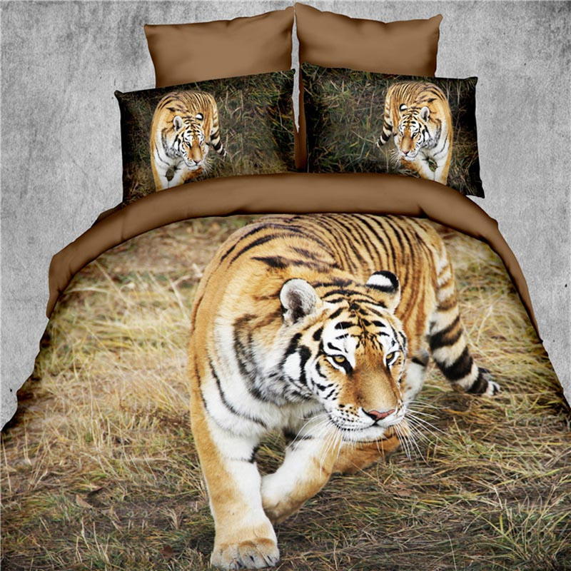 3D Bedding sets 4pc Tiger Print Bed Sheet 3D Quilts without Reactive Printing Beddings 4 Pieces Bedding Set Queen size(China)