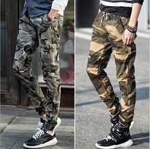 2017 Mens Camouflage Harem Pants Fashion Boy Cheap Camo Jogger Pants For Men Military Style Cargo Trousers(China)