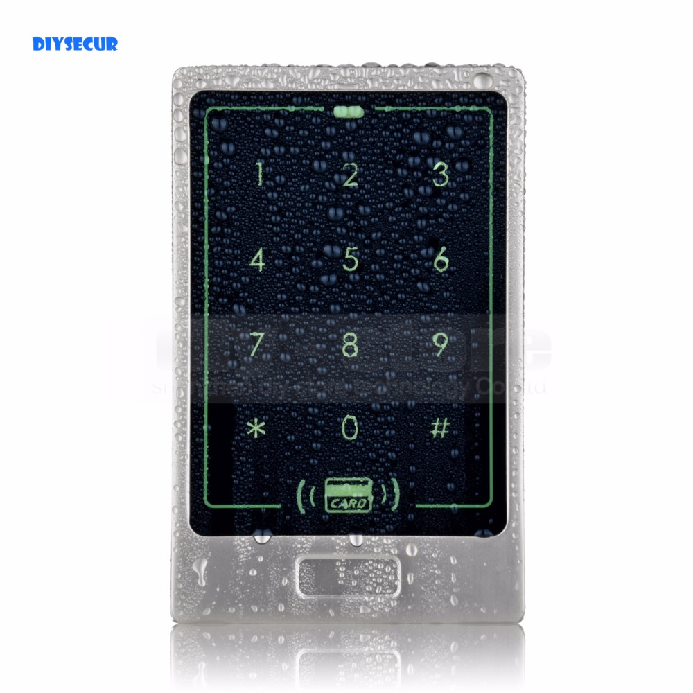 DIYSECUR Waterproof Metal Case Touch Button 125KHz Rfid Card Reader Door Access Controller System Password Keypad C20<br>