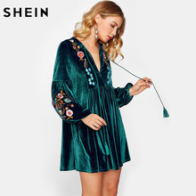 SHEIN Long Sleeve Women Dress Tasseled Tie Bishop Sleeve Embroidery Velvet Straight Dress Green Deep V Neck High Waist Dress(China)