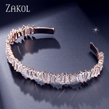 ZAKOL Fashion AAA Cubic Zirconia Baguette Bracelet Bangle Sliver Color Cuff Copper Base Bride Wedding Jewelry For Women FSBP138(China)