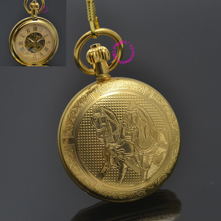 Man Mechanical Pocket Watch Roman Classic Fob Watches Horse Retro Vintage Gold Ipg Plating Copper Brass Case Good Quality Hour<br>