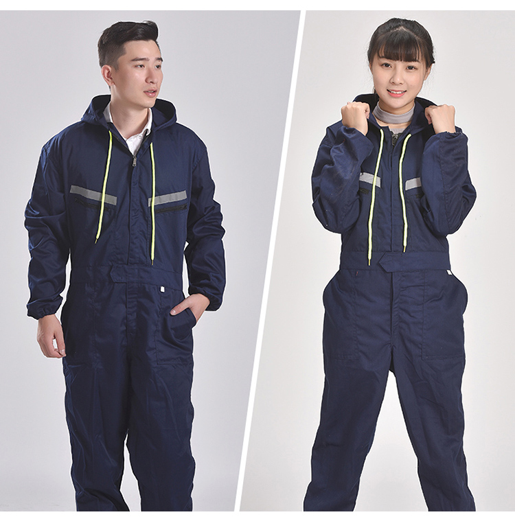 Men Women Coveralls Long Sleeve Hooded Reflective strip Overalls Auto Repair Engineering Spray Paint Workwear Working Uniforms (16)