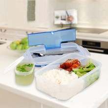 1000mL Singel Layer Dinnerware Sets PP Bento Lunchbox Large Capacity Food Container Handle Lunch Case TableWare 3 Components(China)