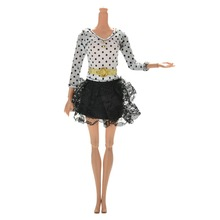1 pcs Long Sleeve Mini Dot Printing Lace Dress for Barbie Lovely Handmade Doll Dress