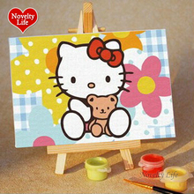 Noveltylife DIY Oil Painting By Numbers Cartoon Small Picture Easel Children Home Decor Canvas Paint Kid Bed Room Living 10x15cm(China)