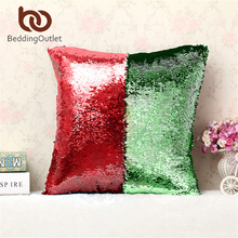 BeddingOutlet Mermaid Sequin Cushion Cover Magical Shining Pillow Case Patchwork Contrast Color Decorative Pillowcase40X40cm(China)