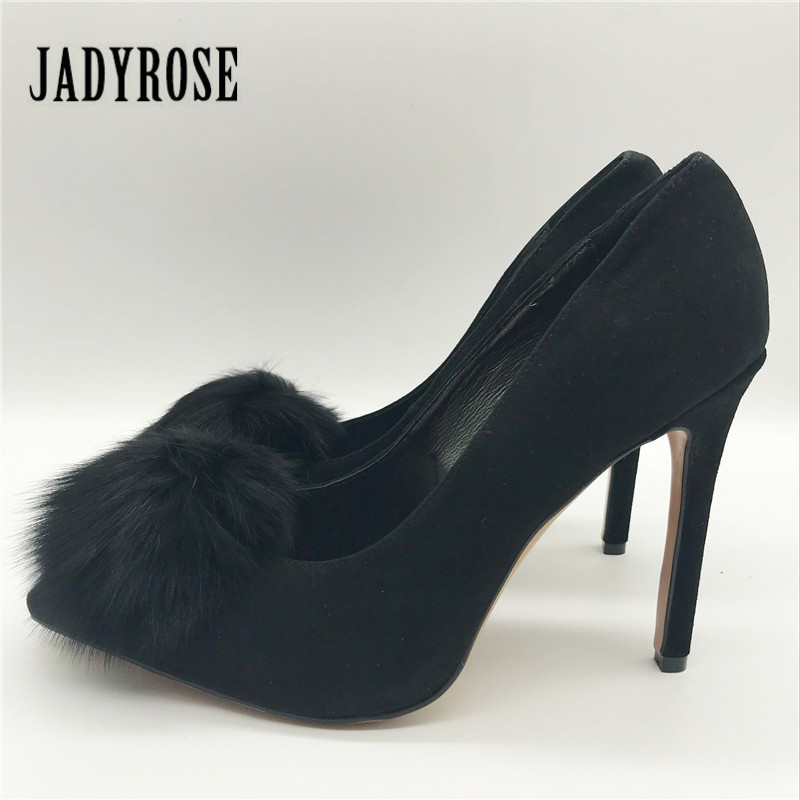 Jady Rose On Sale Black Suede Women Pumps Real Fur Decor High Heels Pointed Toe Prom Dress Shoes Woman Stiletto Valentine Shoes<br>