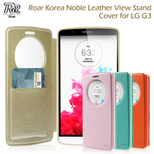 ROAR funda For LG G3 D850 D855 LS990 Case Circle Window PU Leather View Flip Stand Cover for LGG3 Smartphone Cover Bag Cases(China)