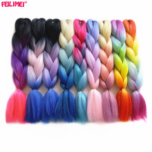 Feilimei Ombre Braiding Hair 60cm 100g SyntheticJumbo Braids Black Gray Purple Blue Green Blonde Brown Crochet Hair Extensions(China)