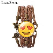 LIEBE ENGEL 13 Funny Love Emoji Bracelets For Women Glass Cabochon Bracelets&Bangles Bronze Leather Infinity Cuff Indian Jewelry(China)