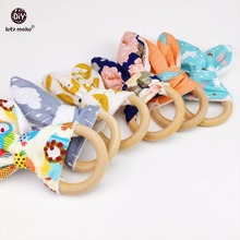 Let's Make Baby Teether Bunny Ear Food Grade Materials 6pcs Teething Accessories Non-toxic Play Gym Pram Toy Nursing Bracelets(China)