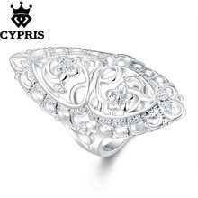 11.11 Super Deal fashion hot ring latest design exaggerated hollow flower chic ring women lady girl wholesale price long big(China)