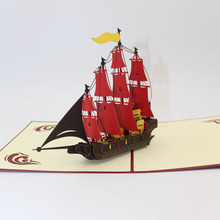 3D Handmade Sea Overlord Red Flag Sailing Ship Retro Pirate Boat Paper Greeting Cards with Envelope Business Kids Birthday Gift