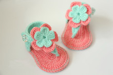 New Summer flowers baby shoes,baby gladiator shoes,Crochet baby Booties shoes size: 9cm,10cm,11cm