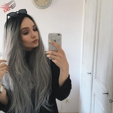 Silky Straight Wigs Dark roots Grey ombre Synthetic Lace Front Wig Heat Resistant Fiber Brazilian Straight Hair Lace Front Wigs