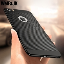 WeiFaJK Case for iPhone 5s 6 Luxury Fashion Carbon Fibre Hard Back Full Cover High Quality Cases for iPhone 6s 7 8 X Plus Case(China)