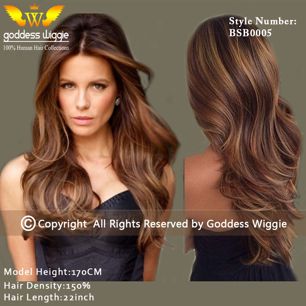 Dark golden brown hair with highlights