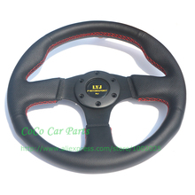 LYJ Motorsport Flat Racing Car Steering Wheel 330mm Diameter Leather Auto Steering Wheel Play Steering Wheel For Games