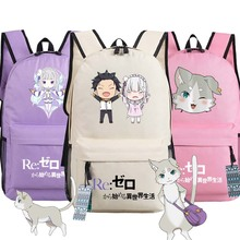 Re:Zero kara Hajimeru Isekai Seikatsu Emiria Backpack Rem Puck Anime bags Student oxford Schoolbags AS Gift