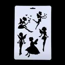 2Pcs DIY Craft Angel Layering Stencils For Walls Painting Scrapbooking Stamps Album Embossing Paper Cards Decorative Accessory