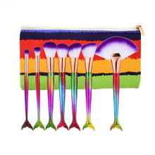 7Pcs Mermaid Makeup Brushes Cleaner with Cosmetics Bag Colorful Rainbow Rose Brush Full Professional Makeup Kit Face Fan Brush