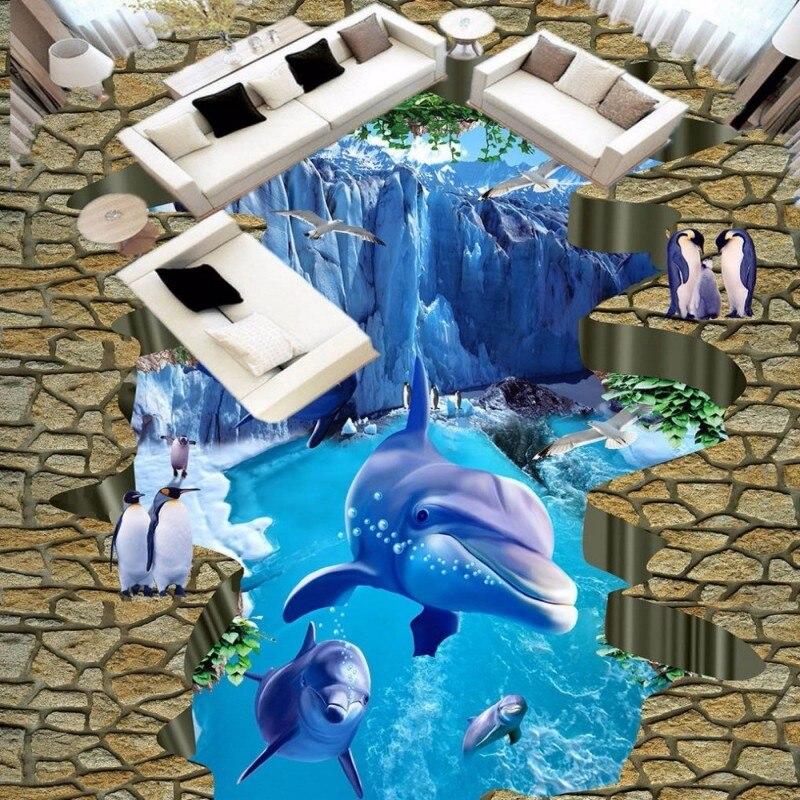 Free Shipping HD 3D Sea world custom photo floor wallpaper bathroom studio office floor wallpaper mural<br>