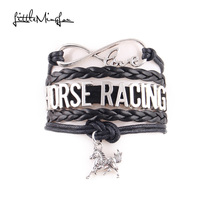 Little MingLou Infinity love Horse Racing Bracelet Horse Charm bracelets & bangles for women men horse hobby leather jewelry