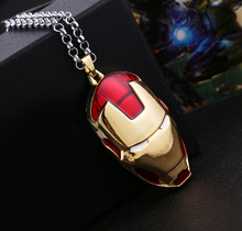 Hot Iron Man Red Mask Log Pendant Necklaces for Women Men Jewelry Movie for The Avengers Superhero Head Cool Necklace