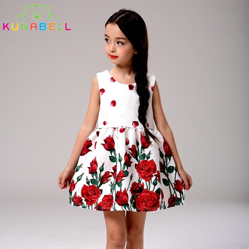 Girl A-Line Dress High Quality Brand Summer Dress Cotton Children Clothing Rose Print Kids Dresses For Party Dresses L-111<br><br>Aliexpress