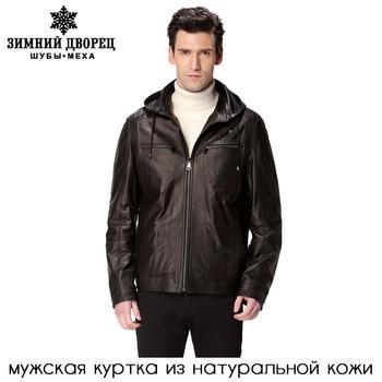Шляпа черный мотоцикл человек пальто, Натуральная кожа, Овчины, Мандарин воротник, Кожаная куртка мужчины, Байкер куртки