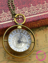 wholesale buyer price good quality new bronze brass material spinning glass crystal ball quartz pocket watch necklace