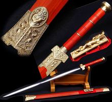 AUTHENTIC China LongQuan Hand-made Boutique Han Jian Battle Kung Fu China Sword Sharp Manganese Steel Full Tang Blade/Red Wood S(China)