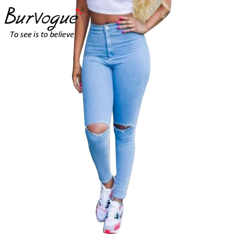 Burvogue Ripped Jeans Pencil Pants Sexy Skinny Jeans Pants for Women Casual Ripped Jeans Slimming High Waist Long Jean PantsОдежда и ак�е��уары<br><br><br>Aliexpress