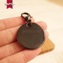 10pcs/lot wholesale metal round cat dog tag blank engrave pet name gun black cat ID tag smooth surface ID tag DIT-013