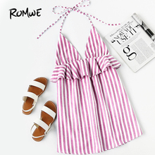 Buy ROMWE Halter Neck Vertical Striped Frill Trim Dress Women's Summer 2018 Dress Pink Sleeveless Sexy Ladies Dresses