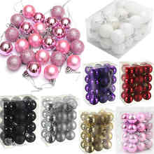 Sale 24 Pcs/Set Glitter Chic Christmas Baubles Ornament Ball Party Home Garden Decor(China)