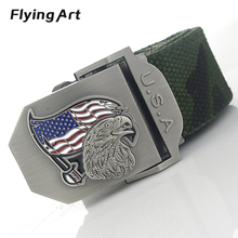 Color the American flag eagle automatically male belt High quality 4mm thick, 3.8cm with canvas belts Cowboy belts for men women(China)