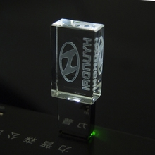 Crystal Transparent LED Light for Hyundai Car Logo USB 2.0 4GB 8GB 16GB 32GB Memory Drive Stick Pen Free LOGO Over 10pcs