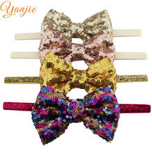"10pcs/lot 4"" Glitter Sequins Bow 3/8'' Glitter Ribbon Stretch Elastic Headband For Kids Glitter Hair Bow Girls Hair Accessories"
