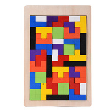 Hot Funny Wooden Russian Tetris Puzzle Jigsaw Intellectual Building and Training Toy for Early Education Kids and Children(China)