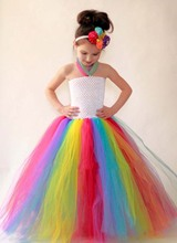 Flowers Girl Rainbow Tutu Dress Birthday Party Halloween Christmas Children Handmade Dress Spring Summer Clothing TS095
