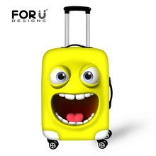 FORUDESIGNS Elastic Luggage Protective Cover Cute Emoji Cat Face Print Travel AntiDust Cover For 18-28 Inch Suitcase Protector(China)