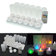 12pcs/set Remote Controll Rechargeable Tea Light LED Candles frosted Flameless TeaLight multi-color Changing candle lamp Party