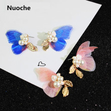 Korean fashion ladies butterfly wings simulated pearl super immortal Pink sweet stud Earrings women fashion jewellery FSB404(China)