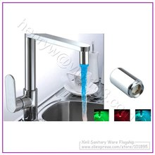 Retail - 3 Color LED Faucet Spout, Color will Change by different Water Temperature,Brass Shell,No Battery, X4102M