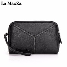 La MaxZa Outstanding Leather Ladies Clutch bag Shopping Essential Pocket Bag Three Colors Optional 333(China)
